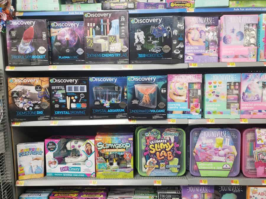 STEM and STEAM toys and kits lined up on store shelves