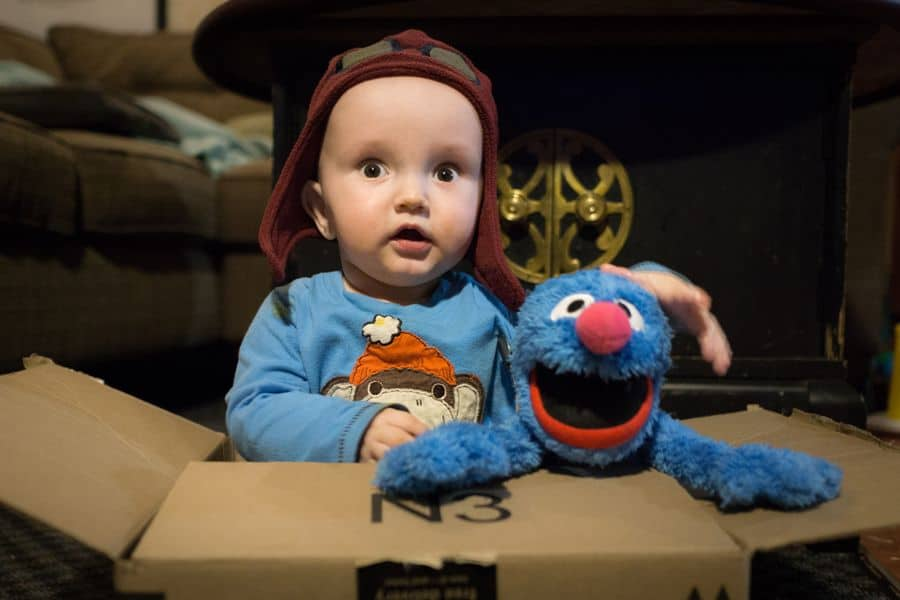 boy playing in cardboard box with grover