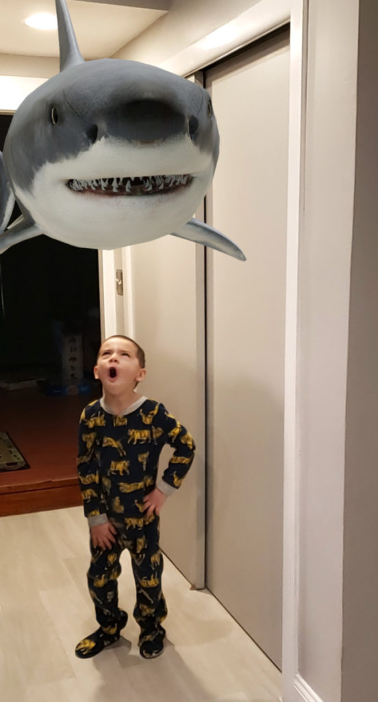 Augmented Reality Shark floating in the kitchen